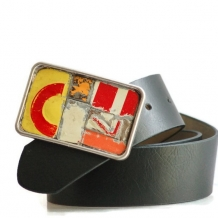 License Plate Mosaic Belt Buckle on Black Vegan Leather Belt